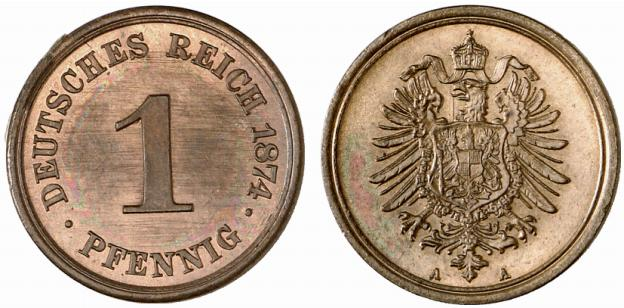 Germany 1 Pfennig 1874 A
