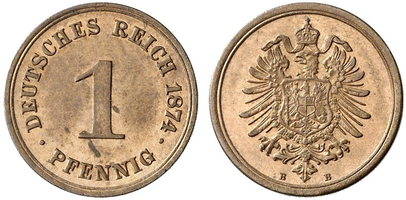 Germany 1 Pfennig 1874 B