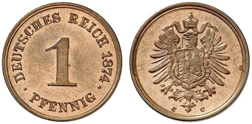 Germany 1 Pfennig 1874 C