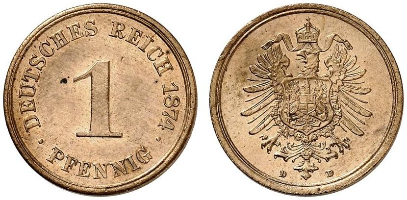 Germany 1 Pfennig 1874 D