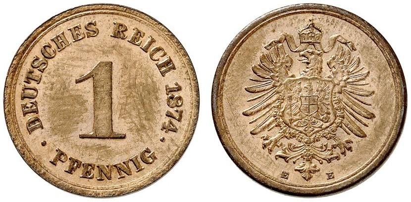 Germany 1 Pfennig 1874 E