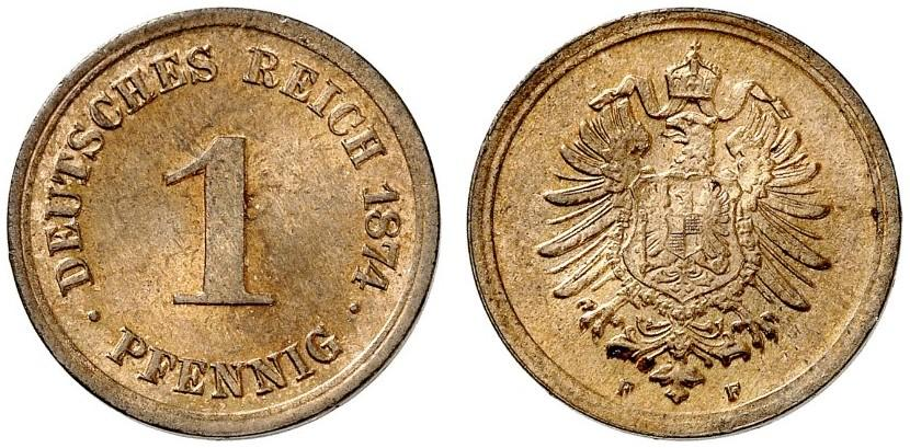 Germany 1 Pfennig 1874 F