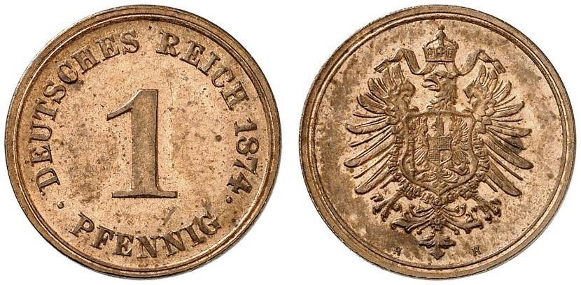 Germany 1 Pfennig 1874 H