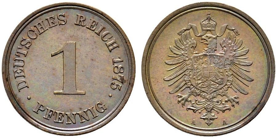 Germany 1 Pfennig 1875 A