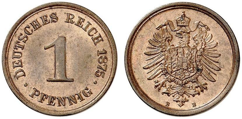 Germany 1 Pfennig 1875 B