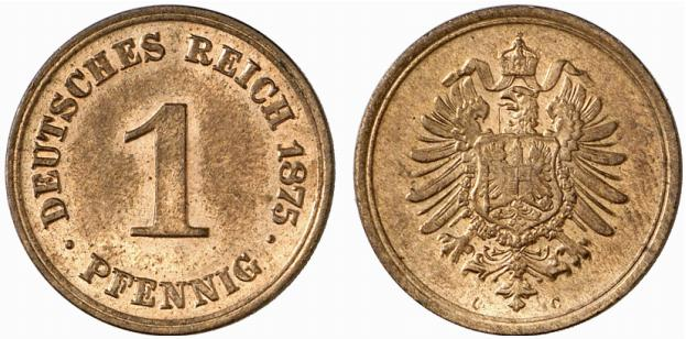 Germany 1 Pfennig 1875 C
