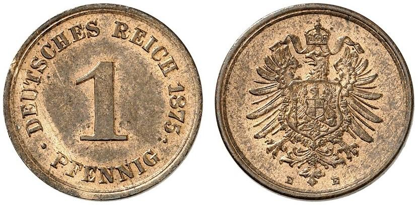 Germany 1 Pfennig 1875 E