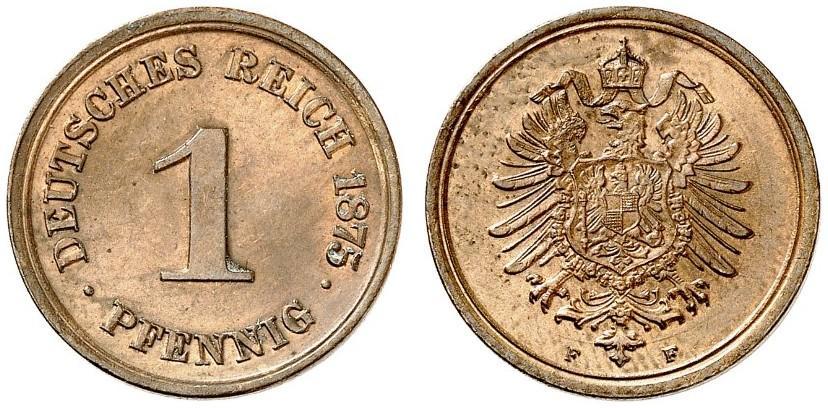 Germany 1 Pfennig 1875 F