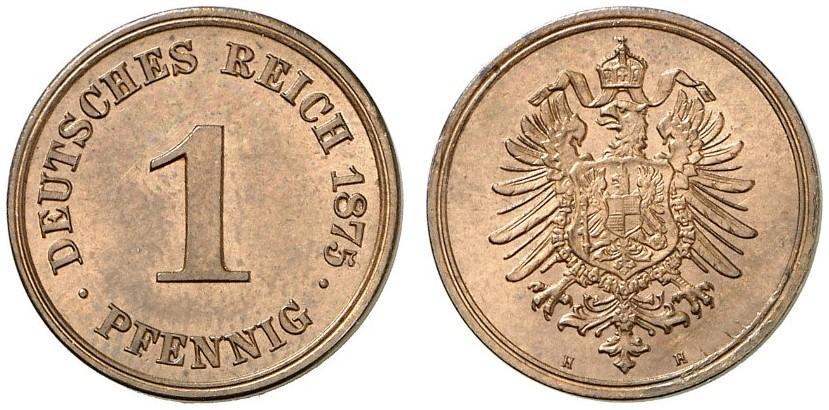 Germany 1 Pfennig 1875 H