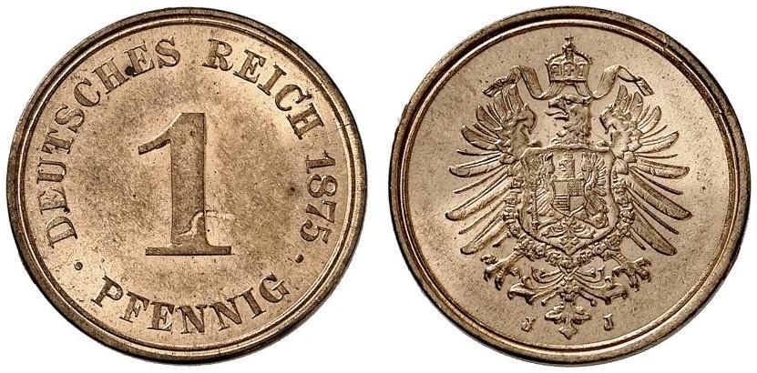 Germany 1 Pfennig 1875 J