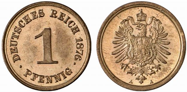 Germany 1 Pfennig 1876 A