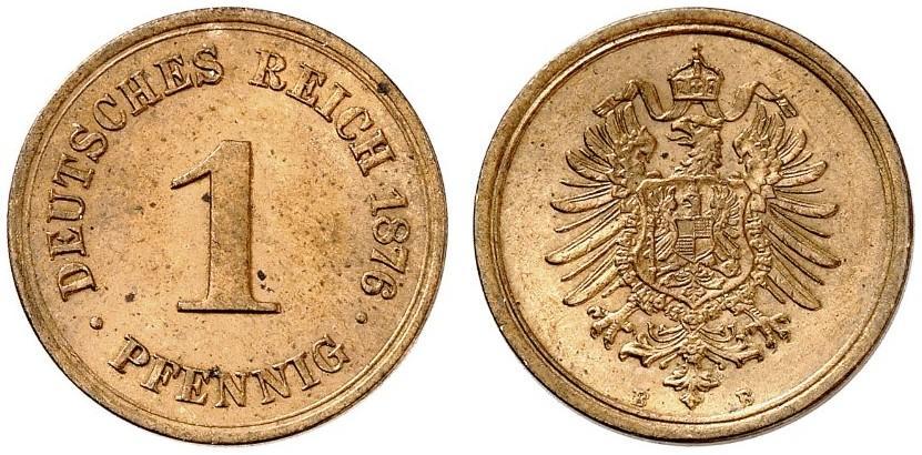 Germany 1 Pfennig 1876 B