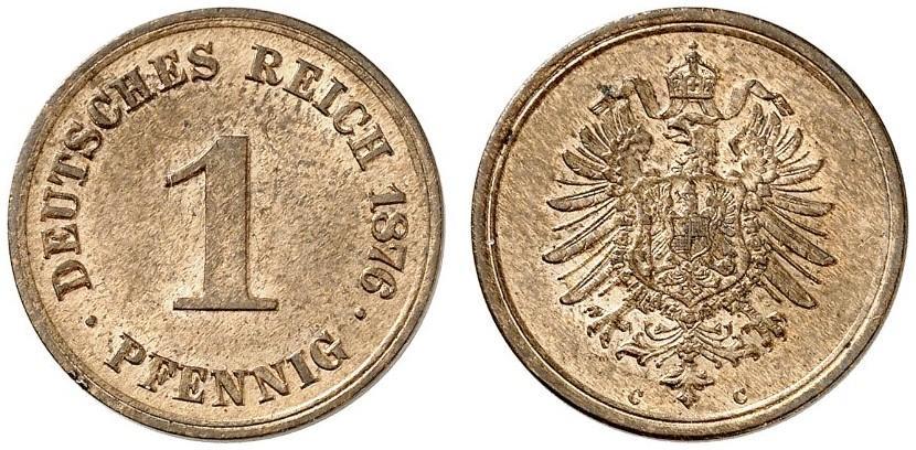 Germany 1 Pfennig 1876 C