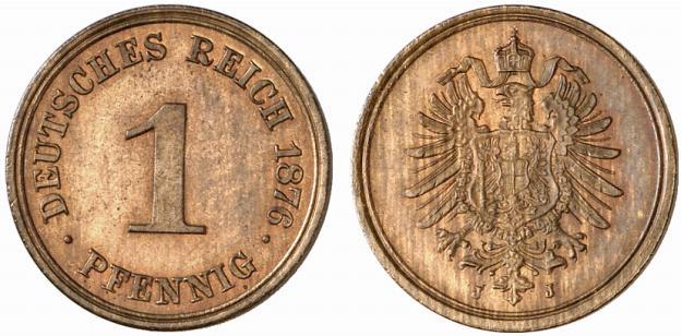 Germany 1 Pfennig 1876 J