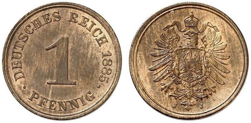 Germany 1 Pfennig 1885 J