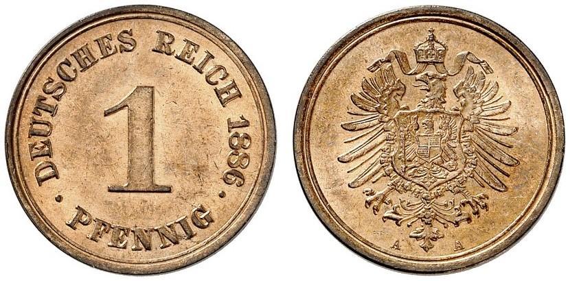 Germany 1 Pfennig 1886 A