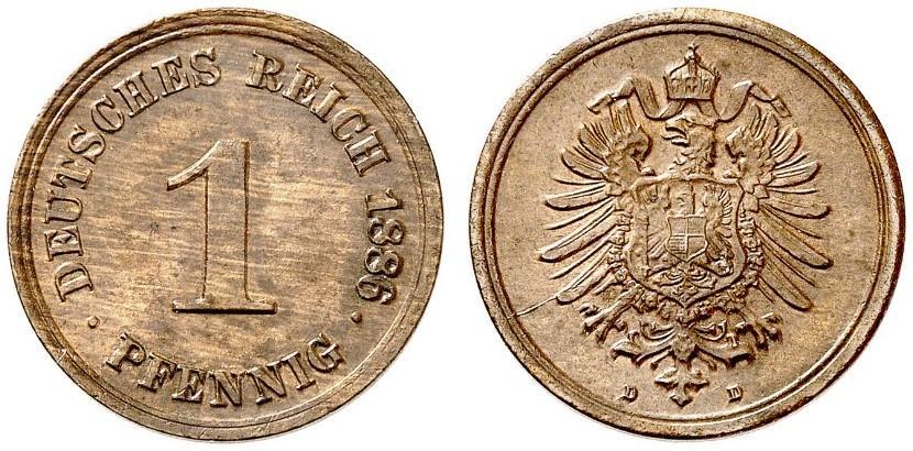 Germany 1 Pfennig 1886 D