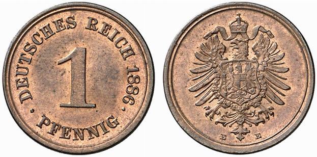 Germany 1 Pfennig 1886 E