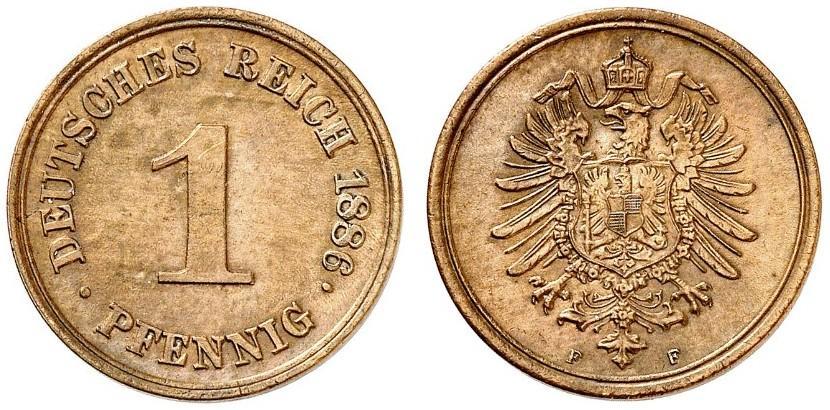 Germany 1 Pfennig 1886 F
