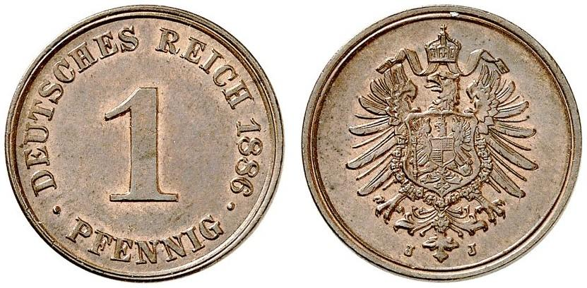 Germany 1 Pfennig 1886 J