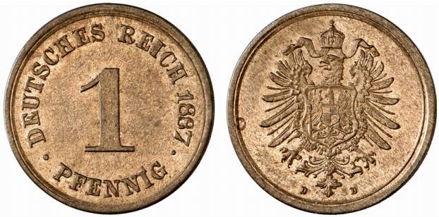Germany 1 Pfennig 1887 D