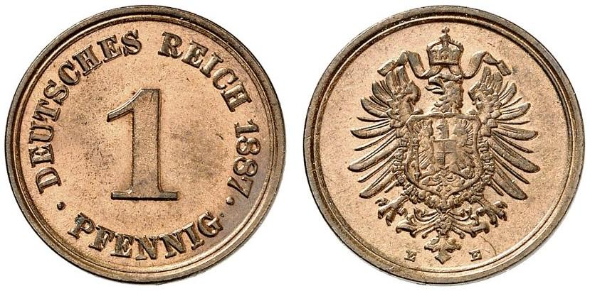 Germany 1 Pfennig 1887 E