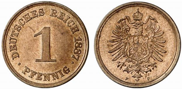 Germany 1 Pfennig 1887 F
