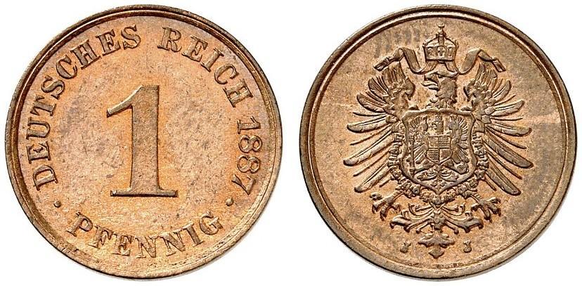 Germany 1 Pfennig 1887 J