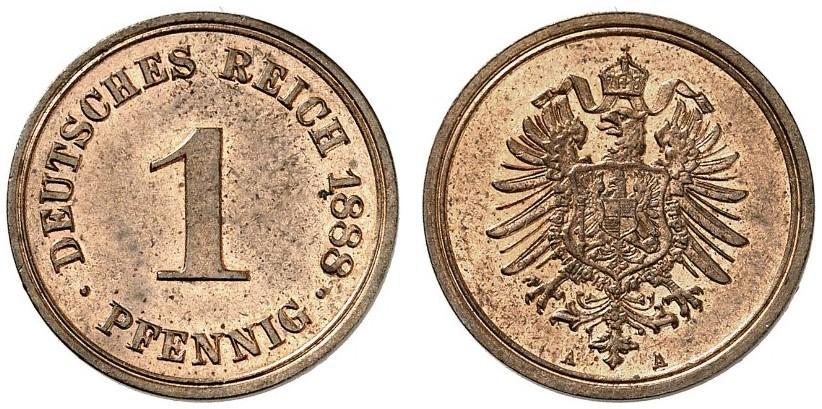 Germany 1 Pfennig 1888 A