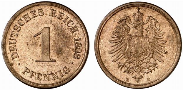 Germany 1 Pfennig 1888 D