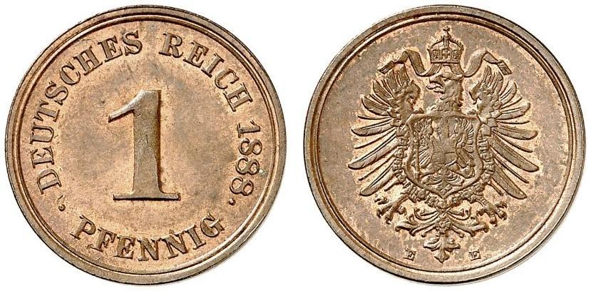 Germany 1 Pfennig 1888 E