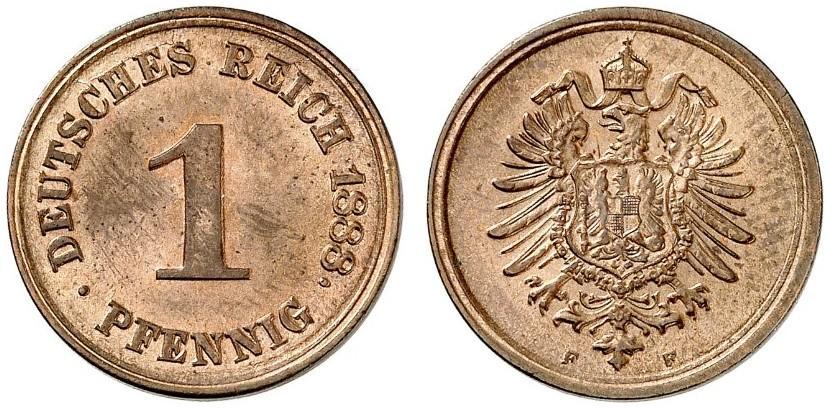 Germany 1 Pfennig 1888 F