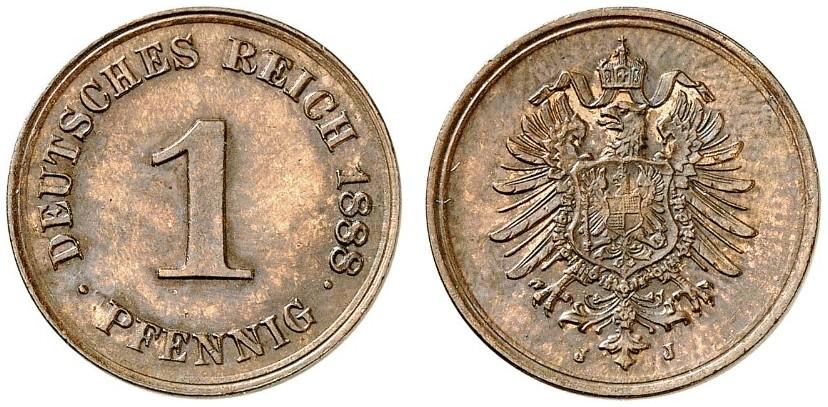 Germany 1 Pfennig 1888 J
