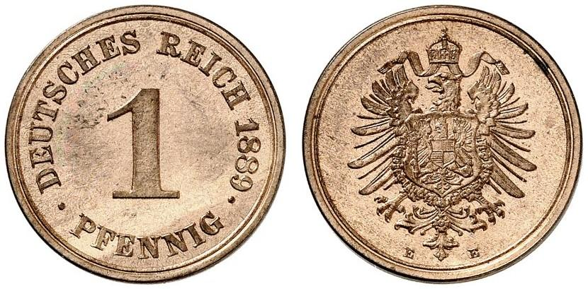 Germany 1 Pfennig 1889 E