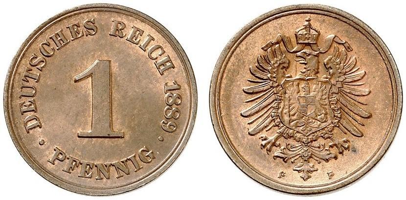 Germany 1 Pfennig 1889 F
