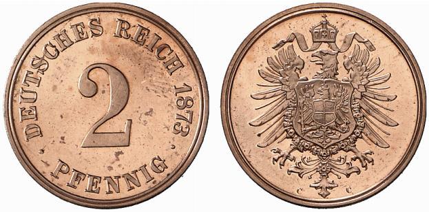 Germany 2 Pfennig 1873 C