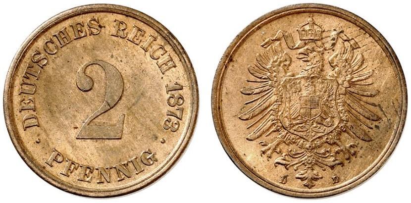 Germany 2 Pfennig 1873 D