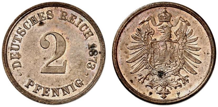Germany 2 Pfennig 1873 F