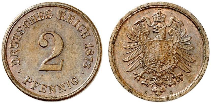 Germany 2 Pfennig 1873 G