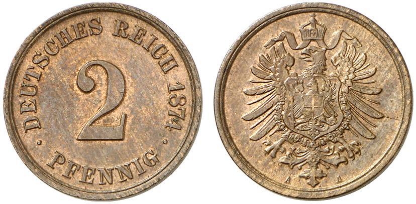 Germany 2 Pfennig 1874 A