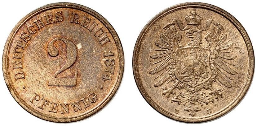 Germany 2 Pfennig 1874 D