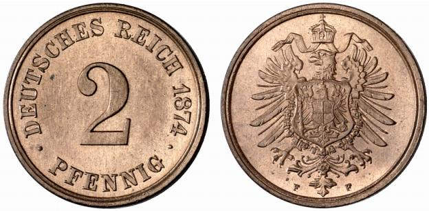 Germany 2 Pfennig 1874 F