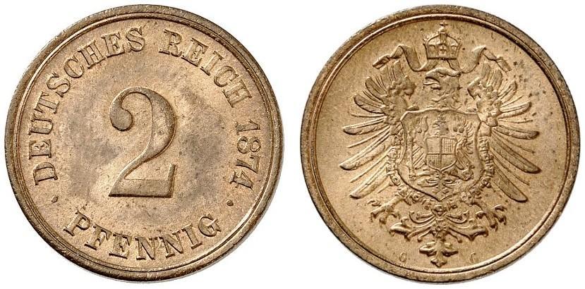 Germany 2 Pfennig 1874 G