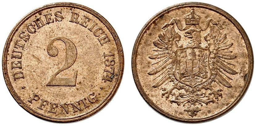Germany 2 Pfennig 1874 H