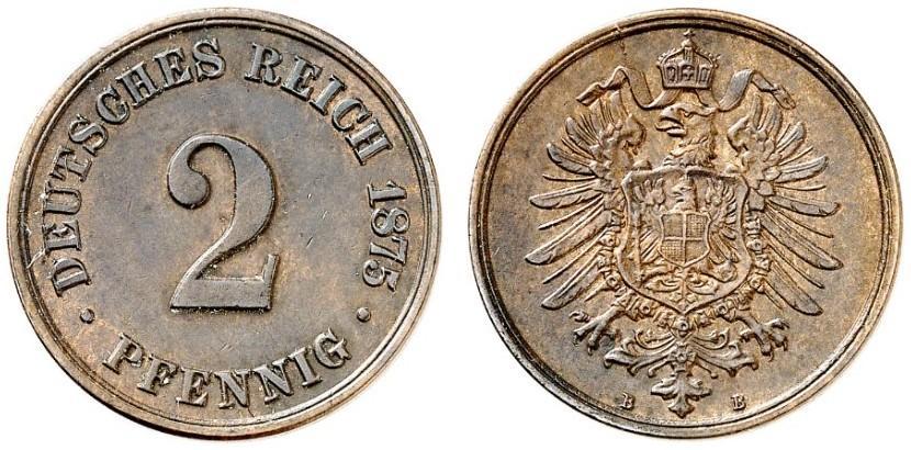 Germany 2 Pfennig 1875 B
