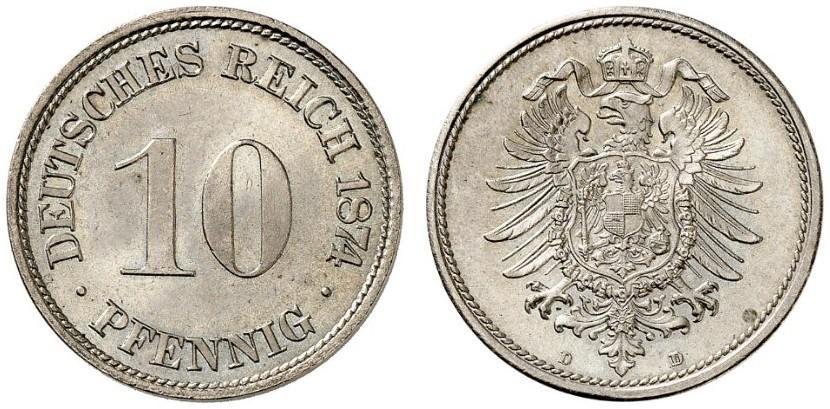 DE 10 Pfennig 1874 D