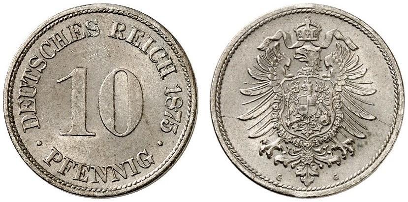 DE 10 Pfennig 1875 G