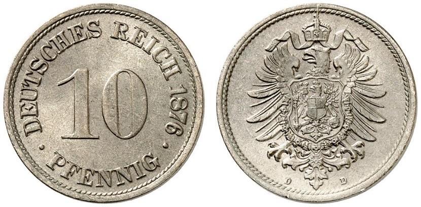 DE 10 Pfennig 1876 D