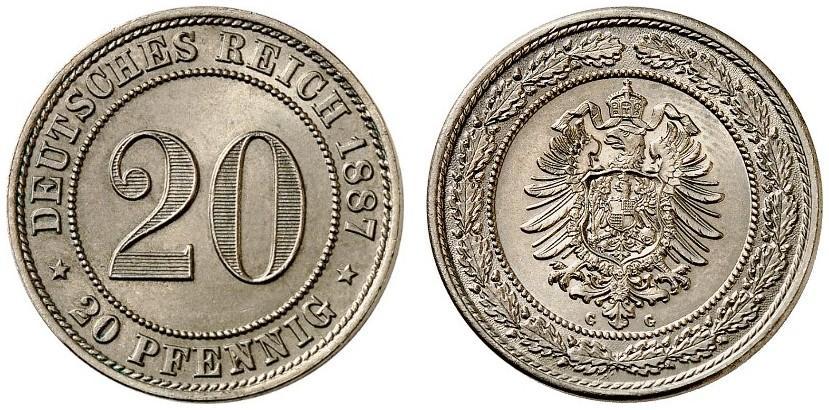 DE 20 Pfennig 1887 G