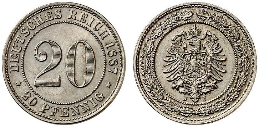 DE 20 Pfennig 1887 J
